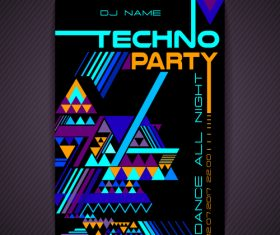 Techno dj party flyer vector