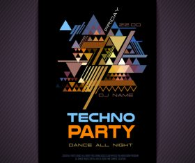Techno party bunting background flyer vector