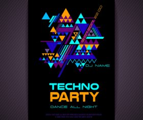 Techno party flyer vector