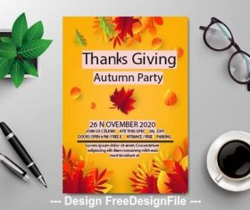 Thankgiving autumn party flyer vector