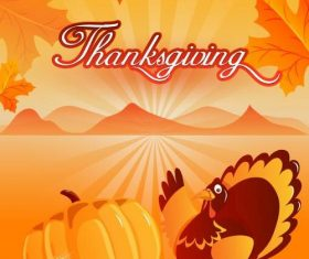 Thankgiving pumpkin and turkey background vector