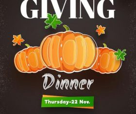 Thanks giving dinner flyer vector