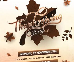 Thanks giving party flyer vector