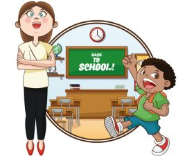 The teacher welcomes students to school vector