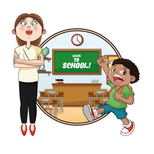 The teacher welcomes students to school vector