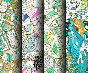 Tracery banner patterns vector
