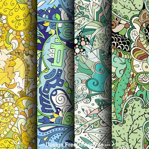 Tracery colorful seamless patterns vector
