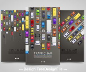 Traffic jam vertical banners vector