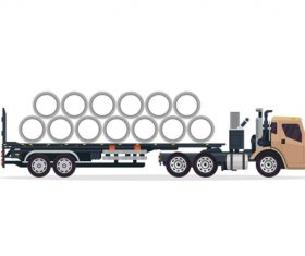 Transport cement pipe Industrial trailer vector