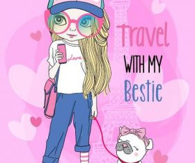 Travel with my bestie cartoon vector