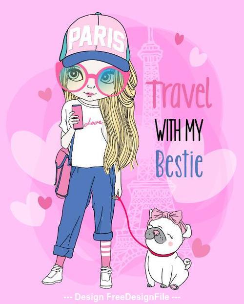 Travel with my bestie cartoon vector