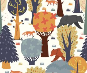 Trees scenery pattern cartoon background vector