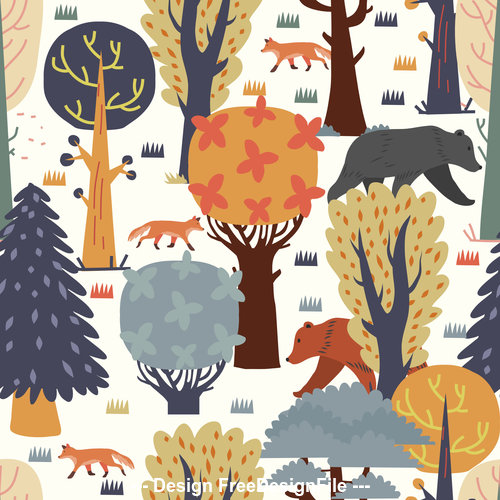 Trees scenery pattern cartoon background vector
