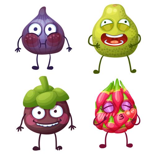 Tropical fruit cartoon expression vector