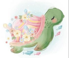 Turtle watercolor drawings vector illustration