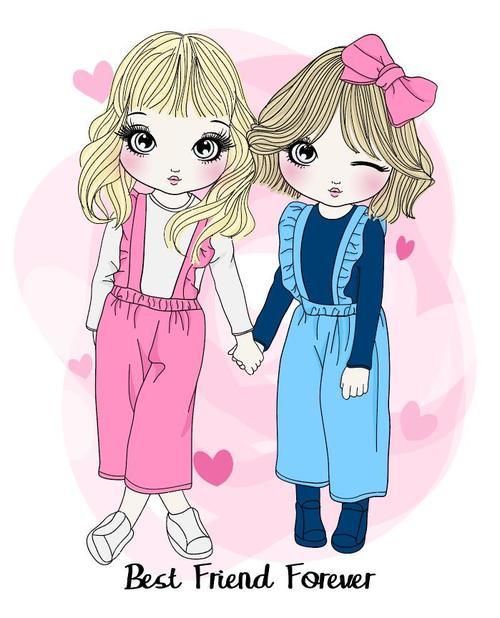 Two cute cartoon girls vector