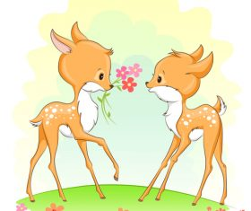 Two deer cartoon illustration vector