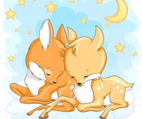 Two deer sleeping together cartoon vector