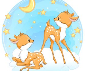 Two happy deer cartoon vector