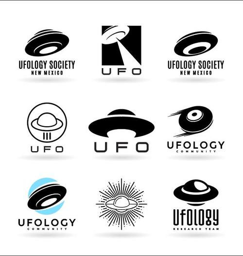 UFO silhouette Icons vector