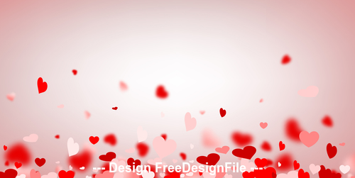 Valentines day red flying hearts vector