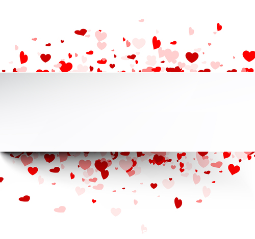 Valentines day red hearts and white banner vector