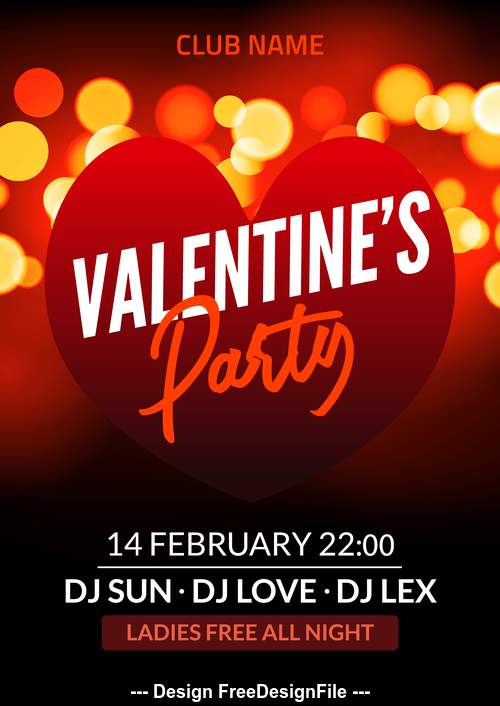 Valentines flyer vector