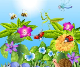Various insects and flowers cartoon illustration vector