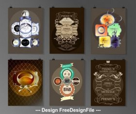Various label poster collections vector