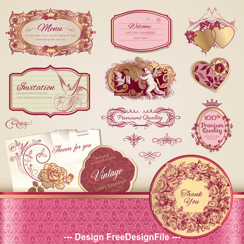 Various types of decorative label vector