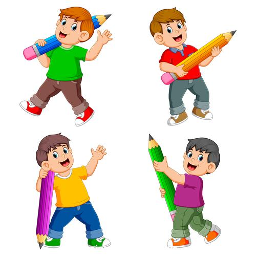 Vector little boy holding a pencil