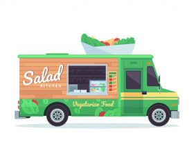 Vegetable sales truck illustration vector