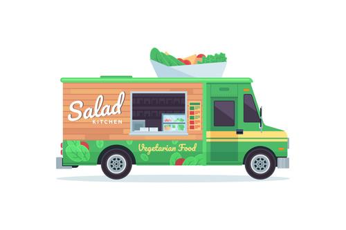 Vegetable sales truck illustration vector