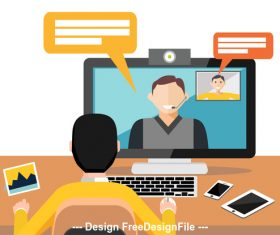 Video call template illustration vector