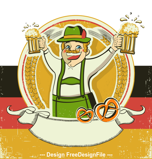 Vintage oktoberfest poster on old paper background vector