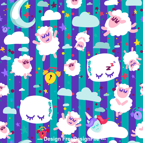 Violet stripes good night cartoon seamless background vector