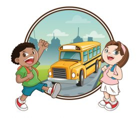 Waiting for school bus cartoon illustration vector