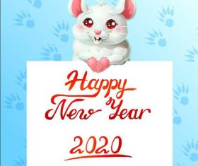 Watercolor Rat cartoon New Year 2020 illustration vector