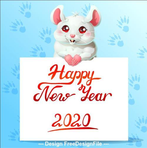 Watercolor Rat cartoon New Year 2020 illustration vector