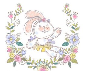 Watercolor illustrations rabbit vector