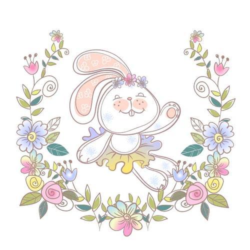 Watercolor illustrations rabbit vector