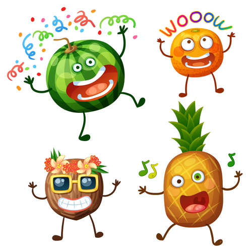 Watermelon and pineapple cartoon emoticon vector