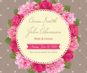 Wedding card with peony and pink roses vector