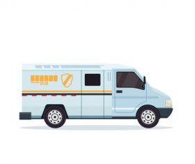 White bank security vehicle vector
