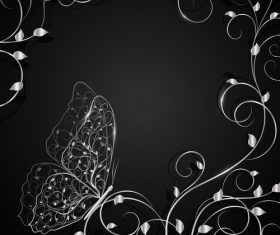 White butterfly and flower background vector