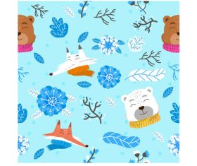Winter animals pattern cartoon background vector