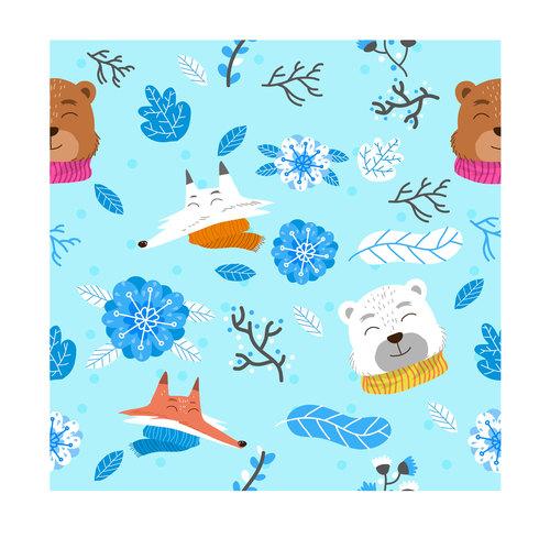 Winter animals pattern cartoon background vector
