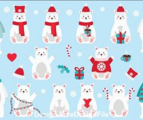 Winter cute animals bear vector