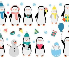 Winter cute animals vector