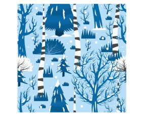 Winter trees pattern cartoon background vector
